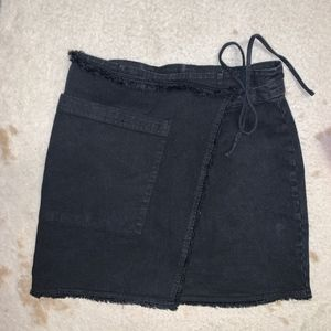 SPLENDID black denim wrap skirt